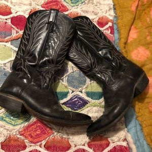 Black Leather Cowgirl Boots Vintage Nocona